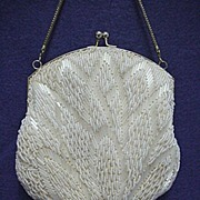 White Beaded Hand Bag or Purse