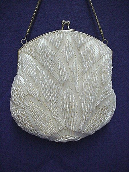 SOLD   See Many Others Purses for SALE  White Beaded Hand Bag or Purse