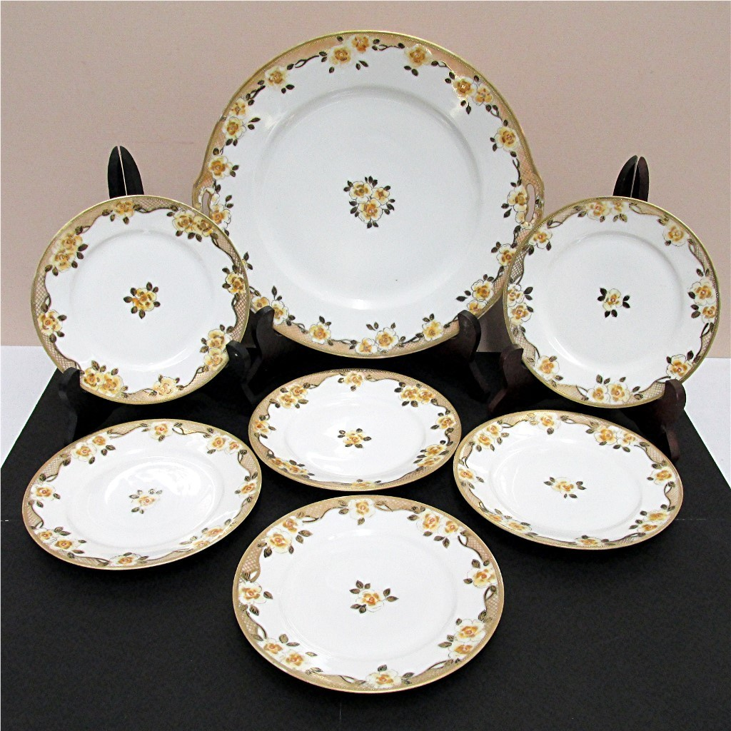 Cake Set Service for 6 Nippon Porcelain