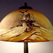 Pittsburgh Winter Scenic Antique Table Lamp
