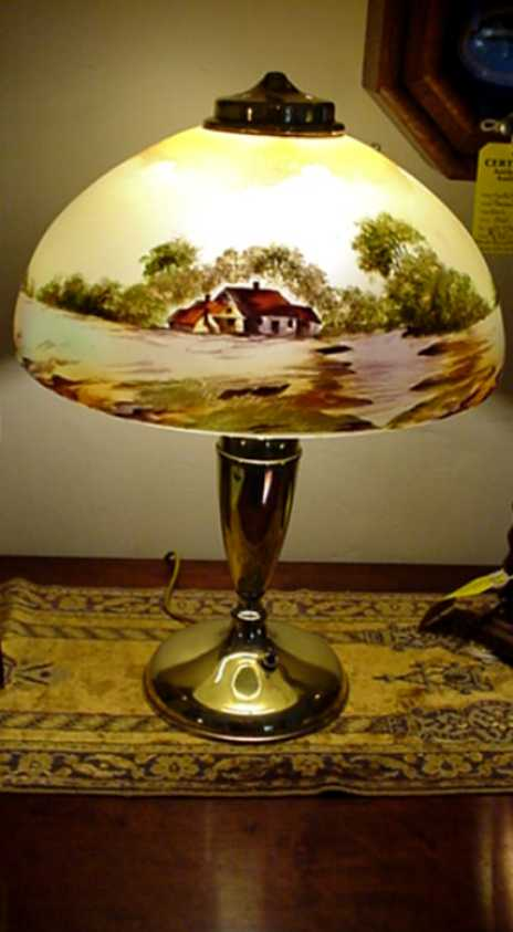 Antique Lamp For Table Or Desk Hand Painted Obverse Glass Shade From Drury On
