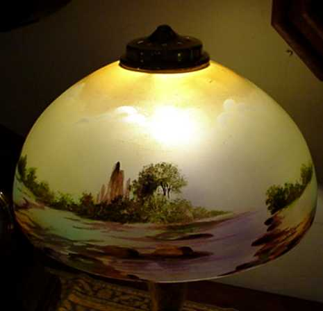 Antique Lamp for Table or Desk Hand Painted Obverse Glass Shade ...