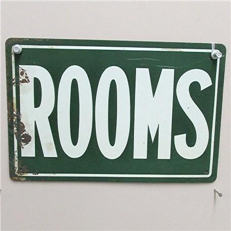 ROOMS Advertising Tin Sign Circa 1920 50% Off