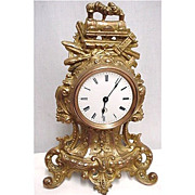 French Gold Gilt Railroad Presentation Clock