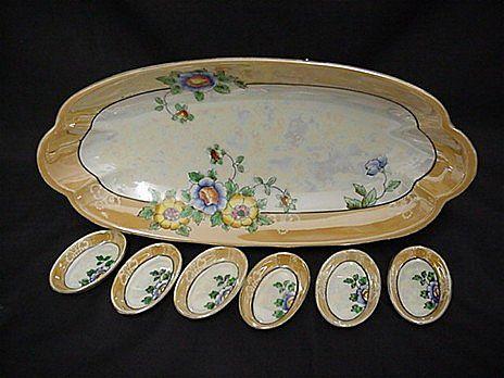 Celery Set Luster Porcelain Complete Set of 6 Salts