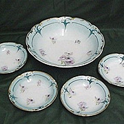 Bowl and 4 Individual Matching Servings Art Nouveau Porcelain Service for 4