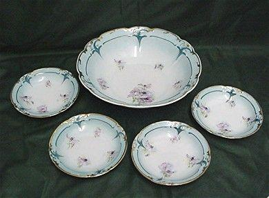 Bowl and 4 Individual Matching Servings Art Nouveau Porcelain Service for 4   ***Selling at Cost