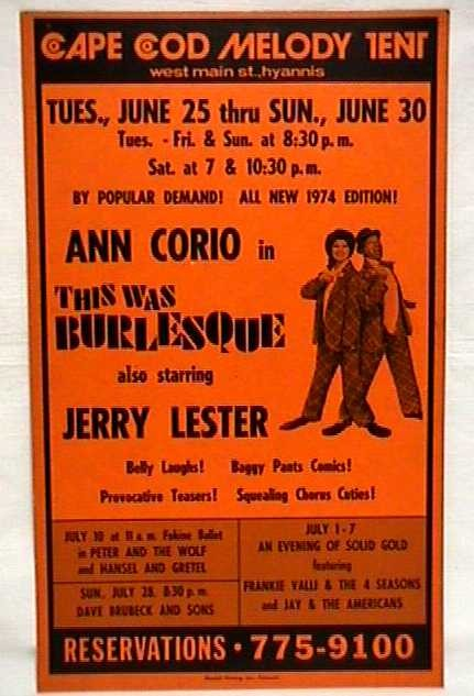 SOLD Theater Poster for Summer Show This was Burlesque Cape Cod Melody Tent
