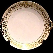 Cake Set Nippon White and Gold Set with Raised Gold Relief