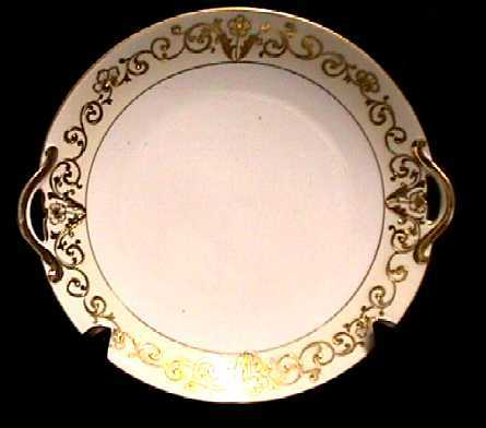 Cake Set Nippon White and Gold Set with Raised Gold Relief   ***Selling at Cost