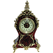 Miniature Antique French Boulle Mantel Clock Runs and Keeps Time