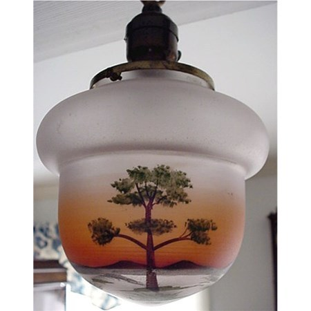 Ceiling Light with Single Drop Acorn Shaped Hand Painted Shade  $250
