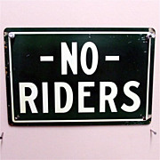 Wagon Sign NO Riders Tin Advertising