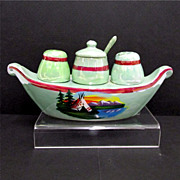 Luster Ware Gondola Condiment Set German Porcelain