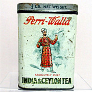 Tea Tin Advertising Perri Walla Indian Ceylon Tea