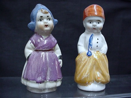 Dutch Couple Salt and Pepper Set Lusterware Shakers