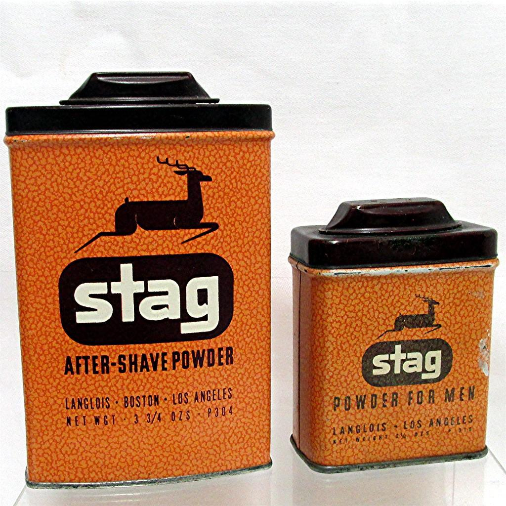 Stag Advertising Talc Tins by Langlois Retailed By Rexall