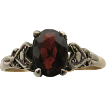 Garnet Ring Antique Gold and Silver Setting  Size 8 3/4