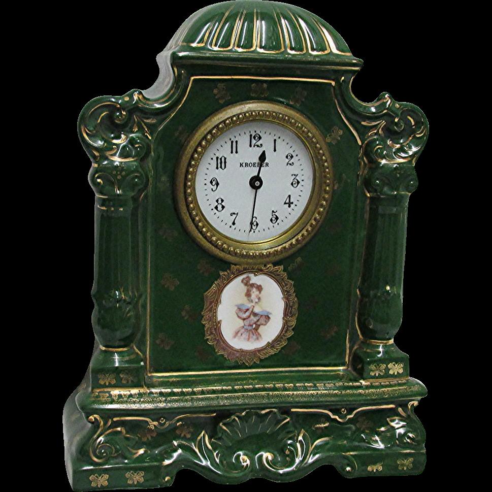 Kroeber Porcelain Clock Signed Victoria Austria