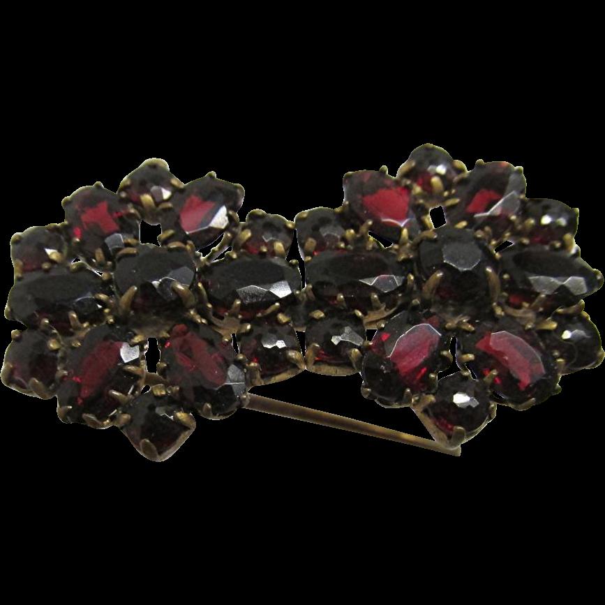 Pin or Brooch Matching Garnet Flowers