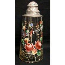 Beer Stein Antique Glass  German Hand Painted Tankard