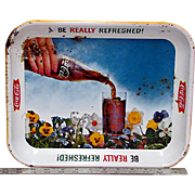 Advertising Coca Cola Tray 1961 Pansy Series Metal