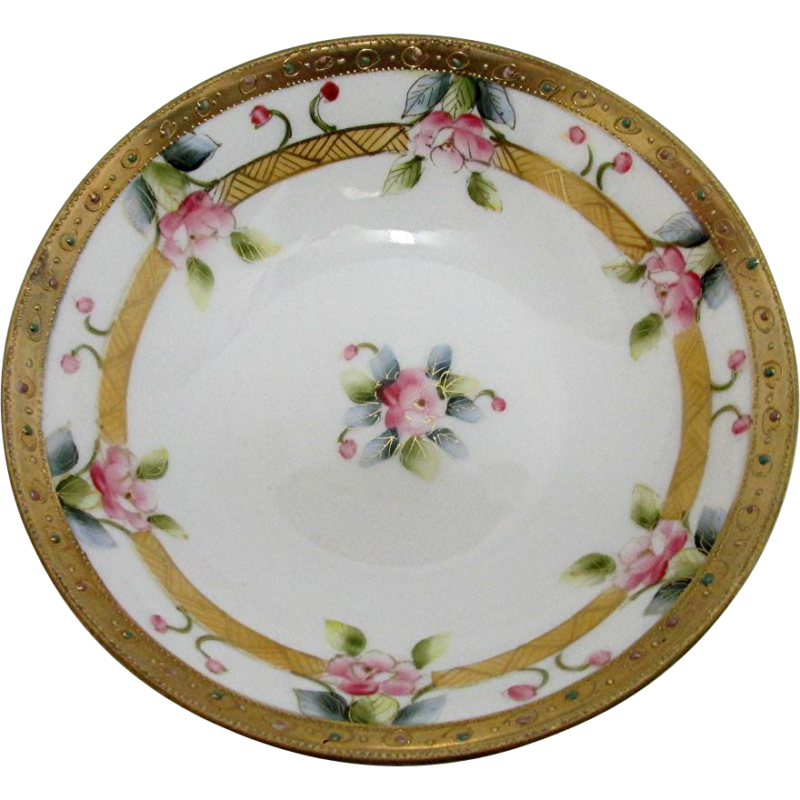 Nippon Porcelain 3 Foot Bowl Hand Painted