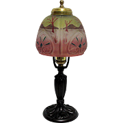 Lamp Antique Table or Boudoir Obverse Painted Glass Shade
