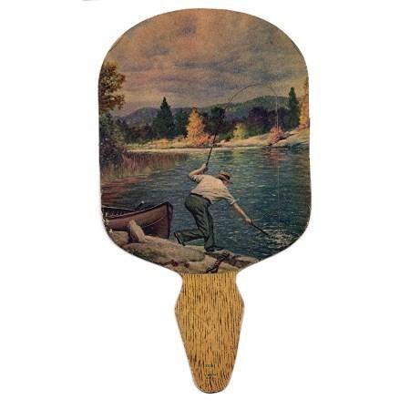 Insurance Advertising Fan Fly Fishing Lithograph Man Netting a Fish
