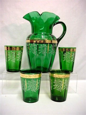 SOLD Pitcher Set with 4 Glasses Lemonade or Water Set Antique American Victorian Glass