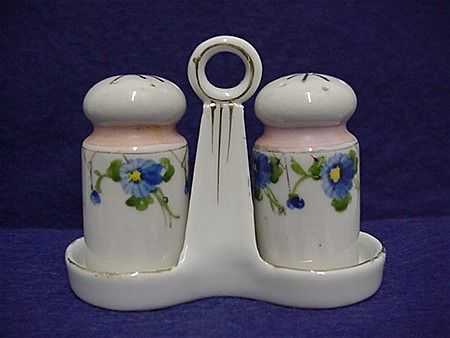Porcelain Salt and Pepper Shakers in Tray 3 piece set