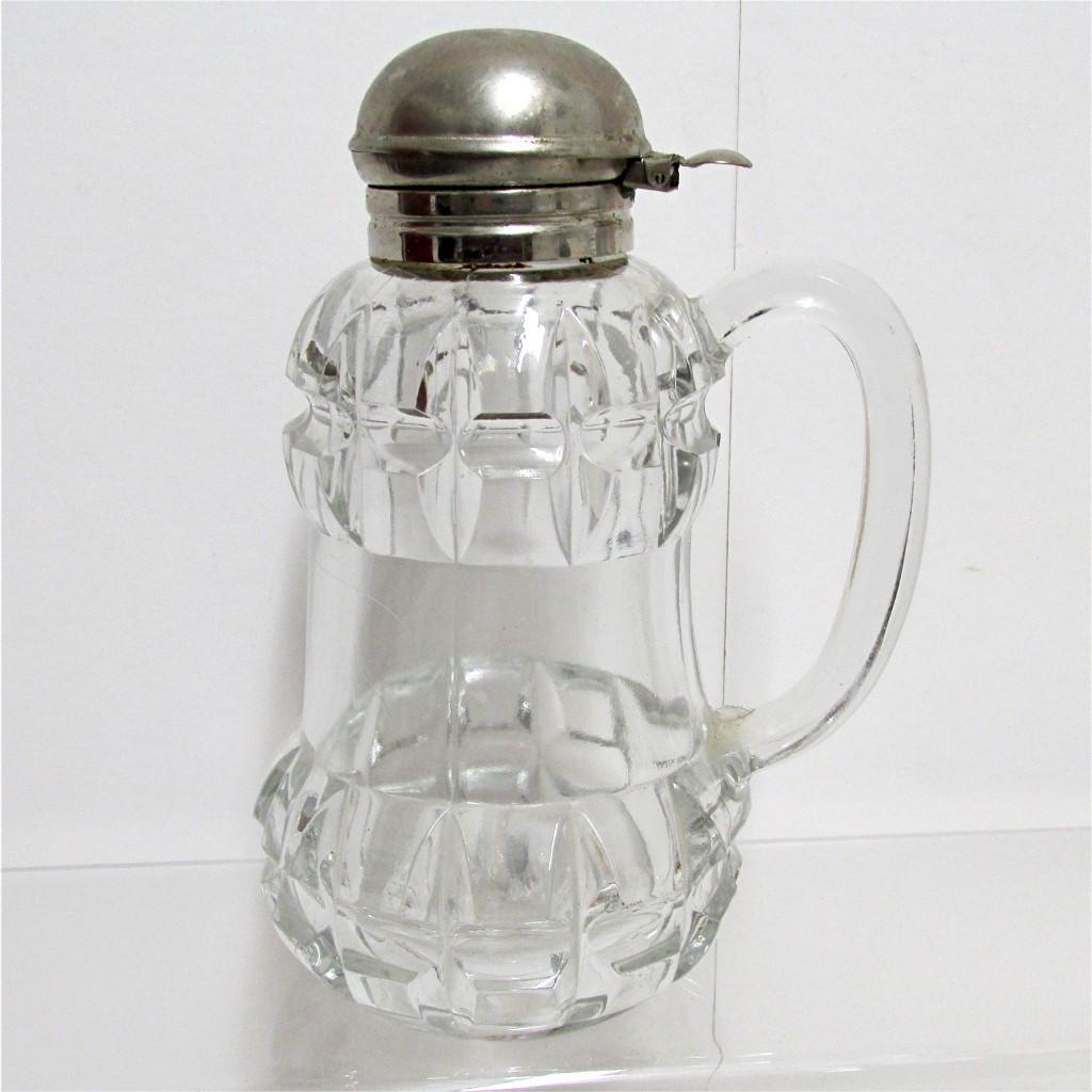 SOLD Syrup Pitcher, Jar or Jug Antique Glass 1890's American