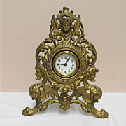 Mantel Clock Cast Metal Gold Gilt Easel Style