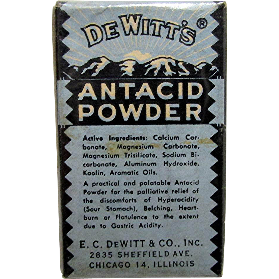 Drugstore Pharmacy Advertising Item Dewitt Antacid Powder