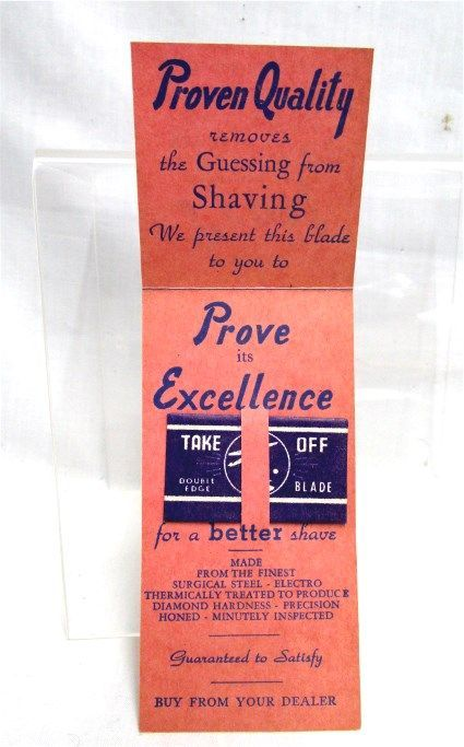 Take Off Razor Blades Antique Advertising Store Display