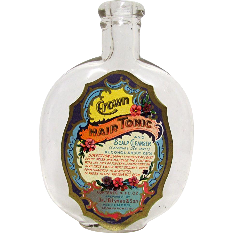 Crown Hair Tonic by Dr. J. B. Lynas  4 oz.  Glass Bottle