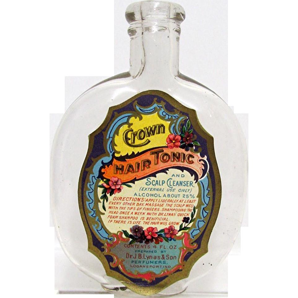 Crown Hair Tonic by Dr. J. B. Lynas  4 oz.  Glass Bottle