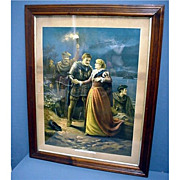 Framed Lithograph Escape of Mary Queen of Scots