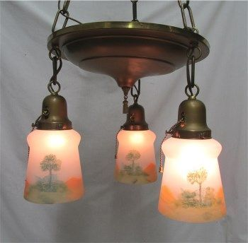 American Chandelier Light Fixture with 3 original Matching Hand Painted Glass Shades