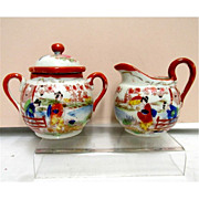 Cream and Sugar Set Geisha Porcelain