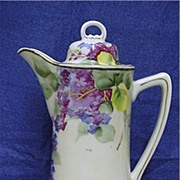 SOLD Floral Hand Painted Chocolate or Cocoa Pot Hand Painted Porcelain