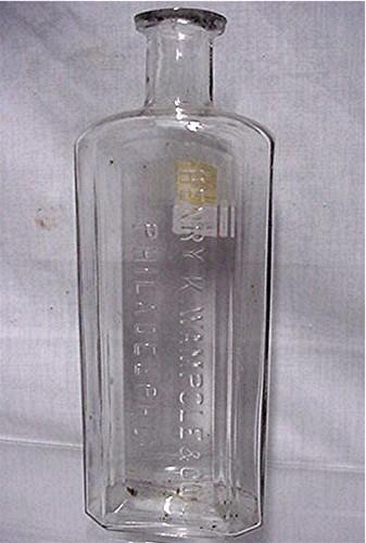 Early Glass Pharmacy Bottle By Henry K. Wampole Philadelphia