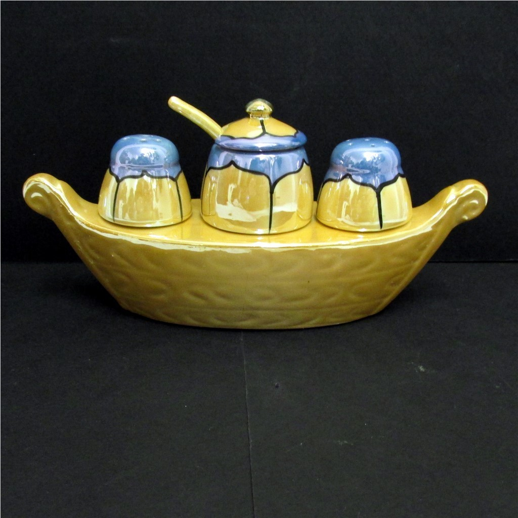 Gondola Condiment Set Lusterware Porcelain