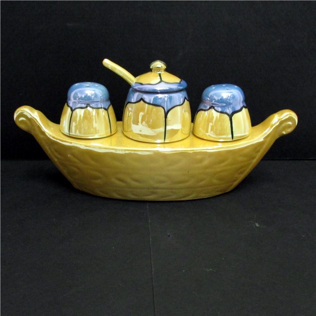 Gondola Condiment Set Lusterware Porcelain     ***Selling at Cost