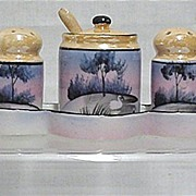 Luster Ware Condiment Set Hand Painted