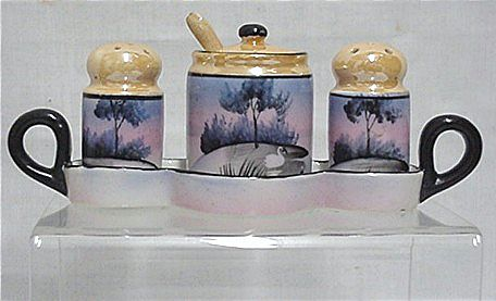 Luster Ware Condiment Set Hand Painted    ***Selling at Cost