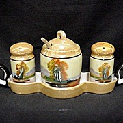 Condiment Set Lusterware Chikaramachi Porcelain    ***Selling at Cost