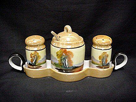 Condiment Set Lusterware Chikaramachi Porcelain    ***Selling at Cost