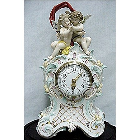 Antique Ludwigsburg Porcelain Clock With Oval Glass Dome