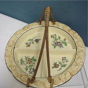 Serving Dish Porcelain with Bamboo Handle
